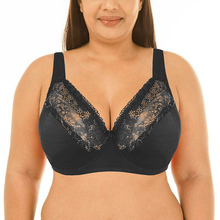 Women Padded Lace Bras Underwire Full Coverage Sheer Supportive Lace Bra Top Plus Size 40 42 44 46 48 50 52 DD DDD E F G Cup