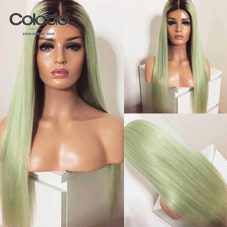 COLODO Ombre koronkowa peruka na przód wstępnie oskubane brazylijski Remy prosto Ice włosy ludzkie w kolorze blond peruka Glueless pełna koronkowa czerwona peruka dla kobiet