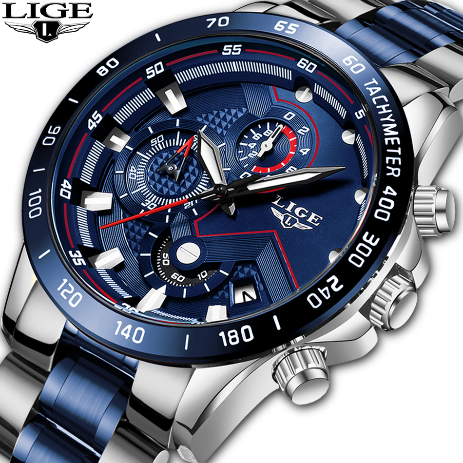 LIGE New Luxury Watches Mens Fashion Blue Watch To