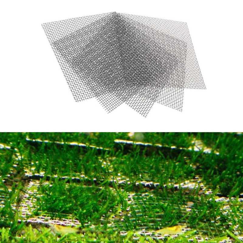 Akvaryum balık tankı paslanmaz çelik tel Mesh Pad bitkileri Moss Net dekor 8x8cm yeni
