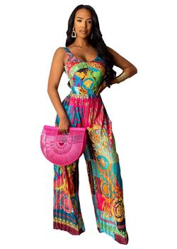 2019 autumn new printed tights halter jumpsuit ladies sexy party club suit jumpsuit casual bow tie beachwear jumpsuit plus yards фото