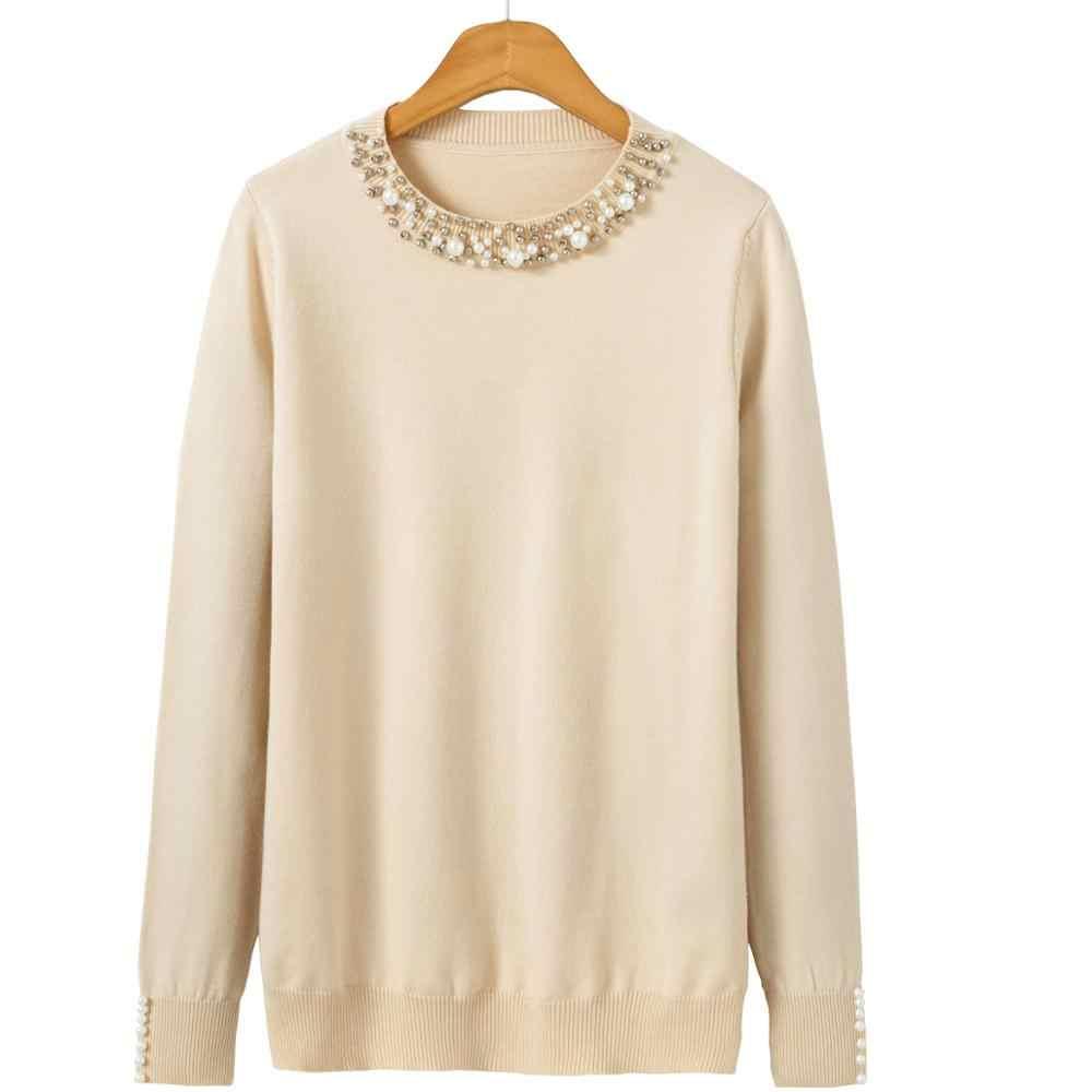 Pearlฤดูหนาวถักเสื้อกันหนาวผู้หญิงแขนยาวหลวมPulloverหญิงนุ่มอบอุ่นฤดูใบไม้ร่วงลำลองจัมเปอร์