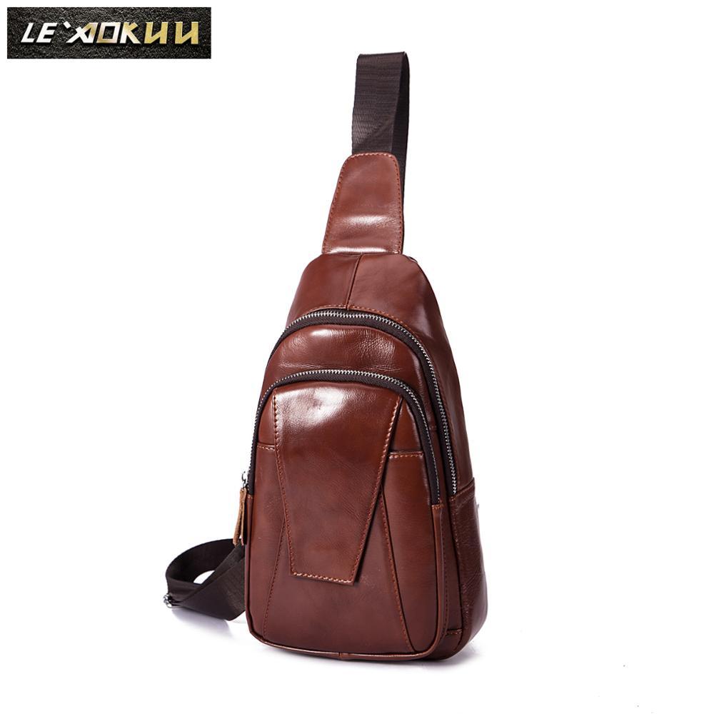 Men Original Genuine Leather Casual Fashion Triangle Crossbody Chest Sling Bag Design Travel One Shoulder Bag Daypack Male 218