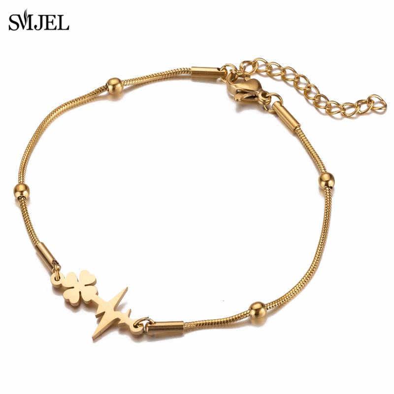 SMJEL bransoletka ze stali nierdzewnej dla kobiet Man Lover's koniczyny bicie serca urok zaręczyny biżuteria prezenty dla zakochanych