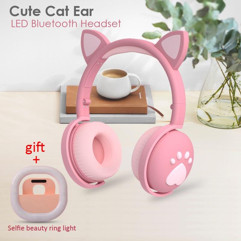 Cute Cat Ear Paw Headset+Selfie Ring Light Glowing  Wireless Bluetooth 5.0 Headphones Daughters Girls Gift Earphone with Mic