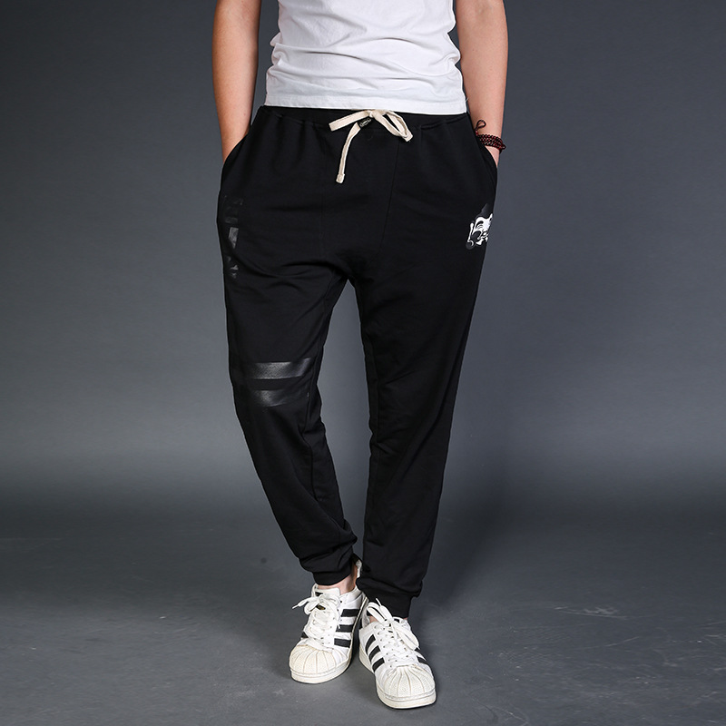 Autumn Large Size Casual Pants Men's Stylish Printed Plus-sized Loose-Fit Beam Leg Elastic Waist Elasticity Athletic Pants Men's