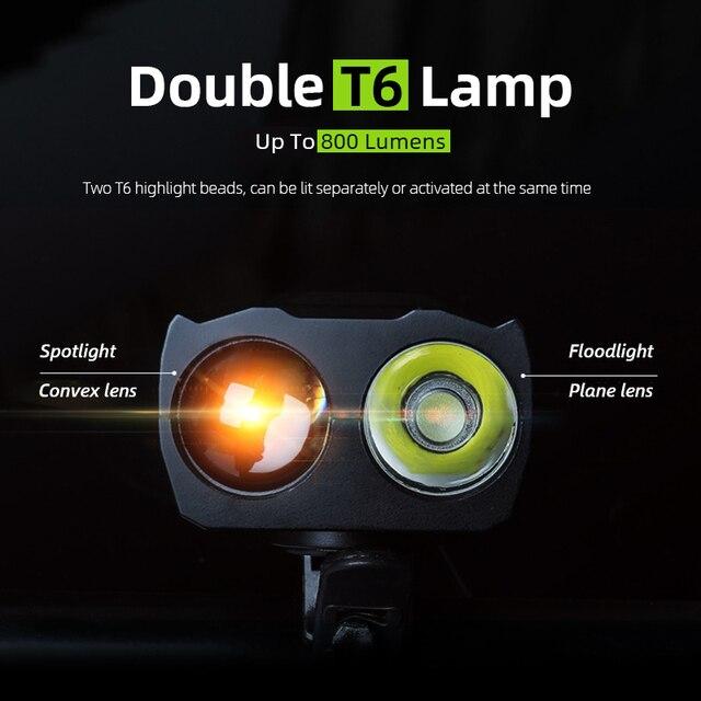 Luz inteligente de frontal da bicicleta, farol de led para bicicleta com indução de 4000mah e recarregável por usb, 800 lumen, duplo t6, lâmpada com buzina, lanterna para ciclismo 2