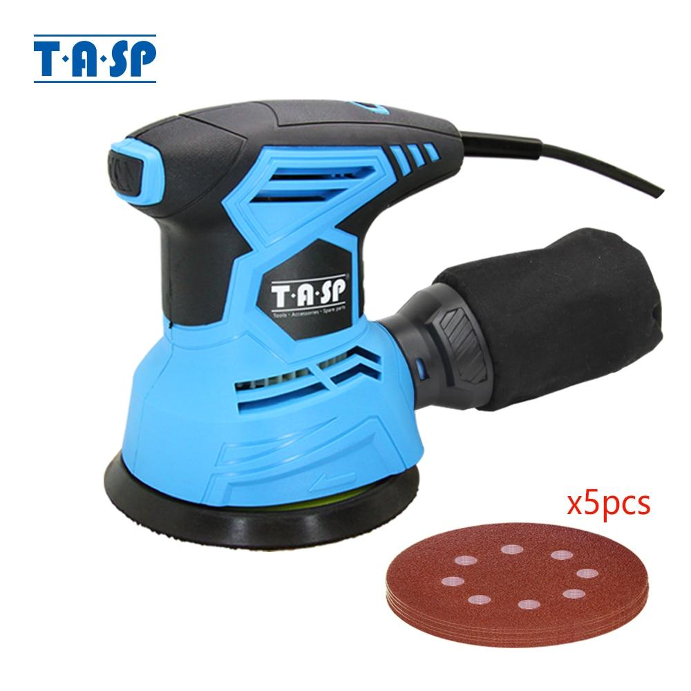 TASP 300W Electric Random Orbital Sander Variable Speed Sanding Machine Woodworking Tools + Dust Collection Box & 5 Sandpapers