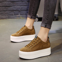 Brown High Heels Ladies Casual Shoes New Spring Fashion Lace-Up Women's Shoes British Style Women Sneakers Autumn Platform Shoes