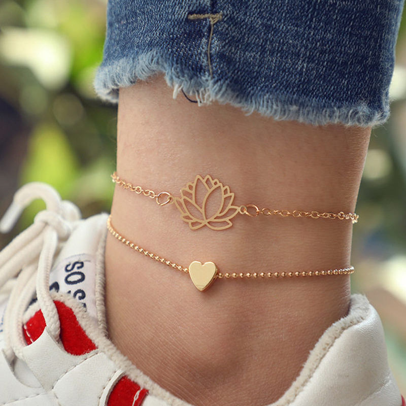 Natural Heart Lotus Anklet Set Barefoot Crochet Sandals Foot Jewelry Leg New Anklets On Foot Ankle Bracelets For Women