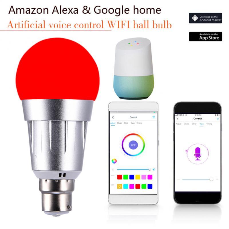Led Bulb E27 B22 Smart WiFi Light Bulb 7W RGB Magic Light Bulb Lamp Wake-Up Lights Compatible With Alexa And Google Assistant