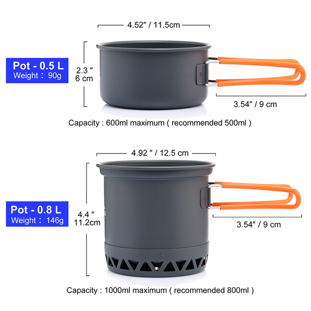 Widesea Camping Ultra-light Cookware Pots Set Gas Burner Stove Cooktop Outdoor Travel Tableware Spoon Fork Knife Picnic kitchen 2