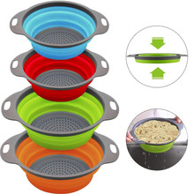 Drain Basket Silicone Strainer Fruit Vegetable Colander Collapsible Strainer Foldable Food Drainer Kitchen Dadgets Accessories