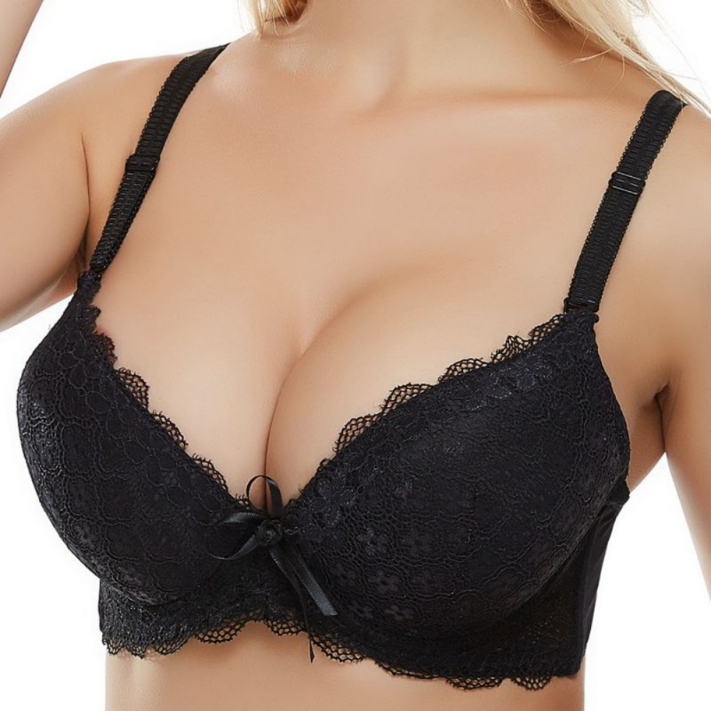 Hollow Out Lace Floral Solid Color Bra Sexy Push Up Underwire Bralettes With Bow Plus Size 3/4 Cup Bras