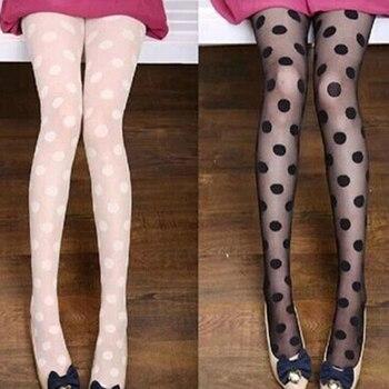 Frauen Strumpfhosen Klassische Polka Dot Silk Strümpfe. Damen Vintage Faux Tattoo Runde Dot Strumpfhosen Weibliche Strumpfwaren
