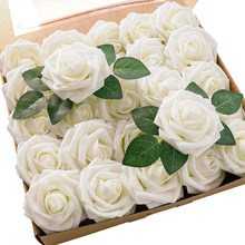 20Pcs Artificial Flowers White Rose Real Looking Fake Foam Roses With Stem Wedding Arrangement DIY Bouquets Party Home Decor