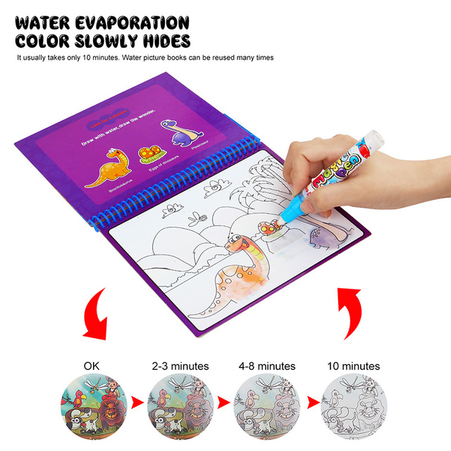 Magic Water Drawing Book With Magic Pen Painting Drawing Board Coloring Book Toys For Children Education Drawing Toy Kids Gifts 3