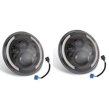 7 inch Round LED Headlights 200W High Low Beam Halo Angle Eyes DRL for Jeep Wrangler JK JL TJ LJ CJ Land Rover, 2PCS