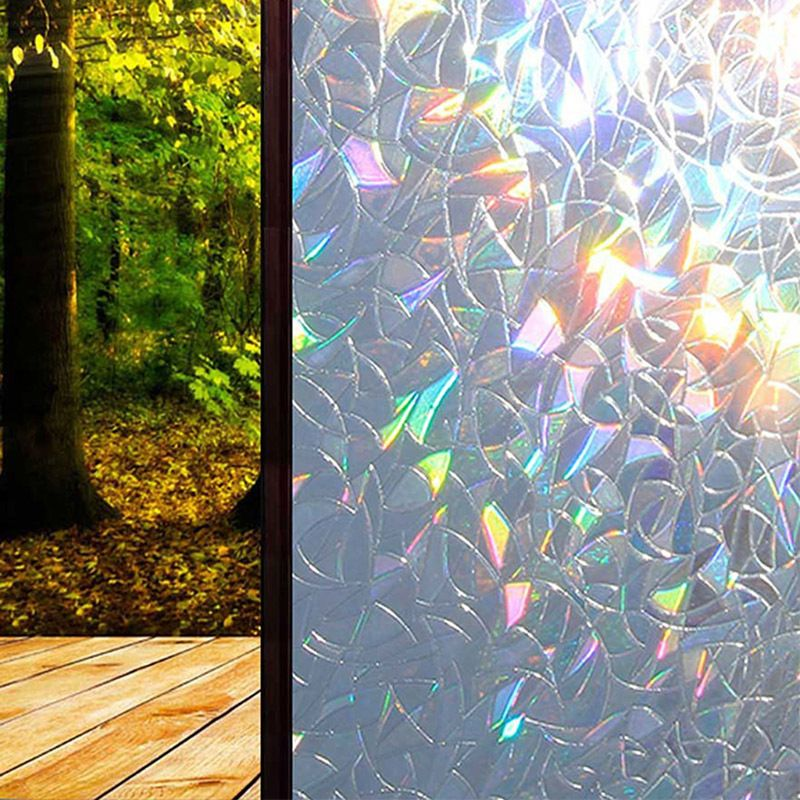 3D Static Decorative Privacy Window Glass Film Sticker Stained Anti UV Self-adhesive Rainbow Stickers Home Decor E7CB