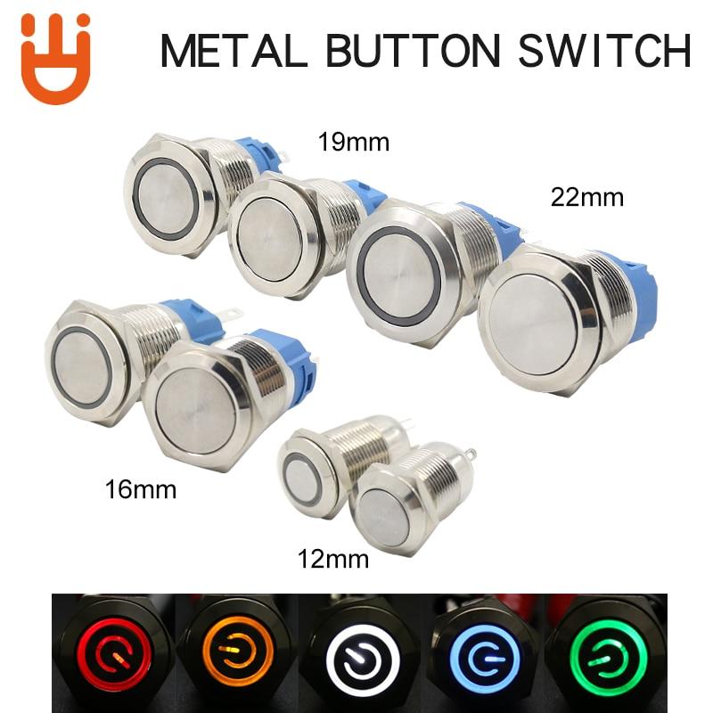12/16/19/22MM Waterproof Metal Push Button Switch Self-Locking/Self-Reseting LED Light Car Engine Power Switch12V 24V 110V 220V