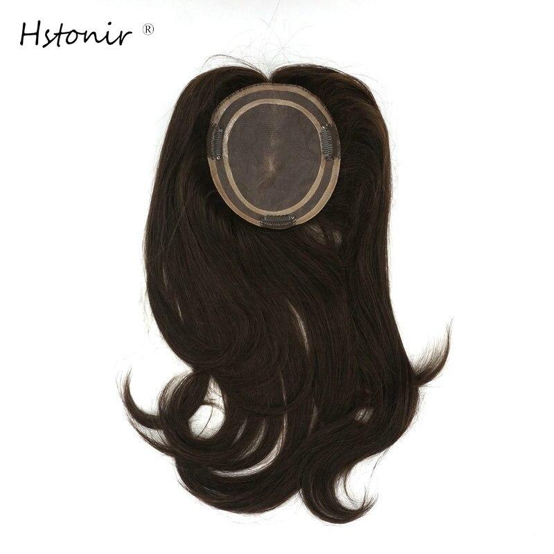 Hstonir European Human Remy Hair Topper Wig For Women Platinum Blond Closure Top Hair Pieces TP04