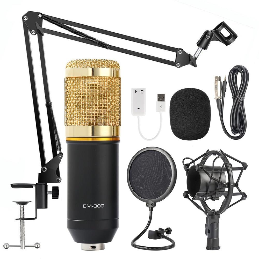 BM 800 micrófono de karaoke BM800 condensador de estudio mikrofon mic bm-800 para KTV Radio Braodcasting canto grabación de la computadora