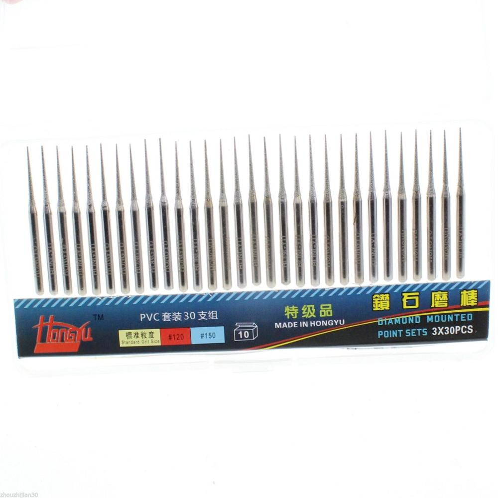 Professional 30Pcs 2mm Diamond Conical Grinding Bit Coated Cone Carving Burrs Grit 150 Tapered Engraving Tips Shank 3mm 1/8