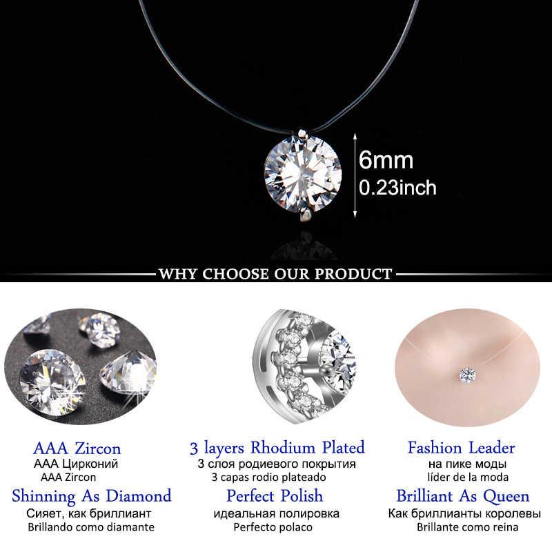Nouveau coréen femmes couleur argent rond zircone pendentif colliers Invisible Transparent pêche fil tour de cou mode bijoux cadeau