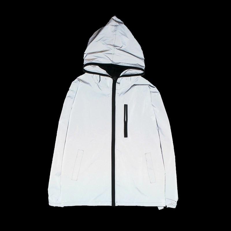 Women Casual reflective   Jacket   Unisex BF Style   Basic     jacket   Coat windbreaker Zipper Hooded Loose   jacket   Outwear