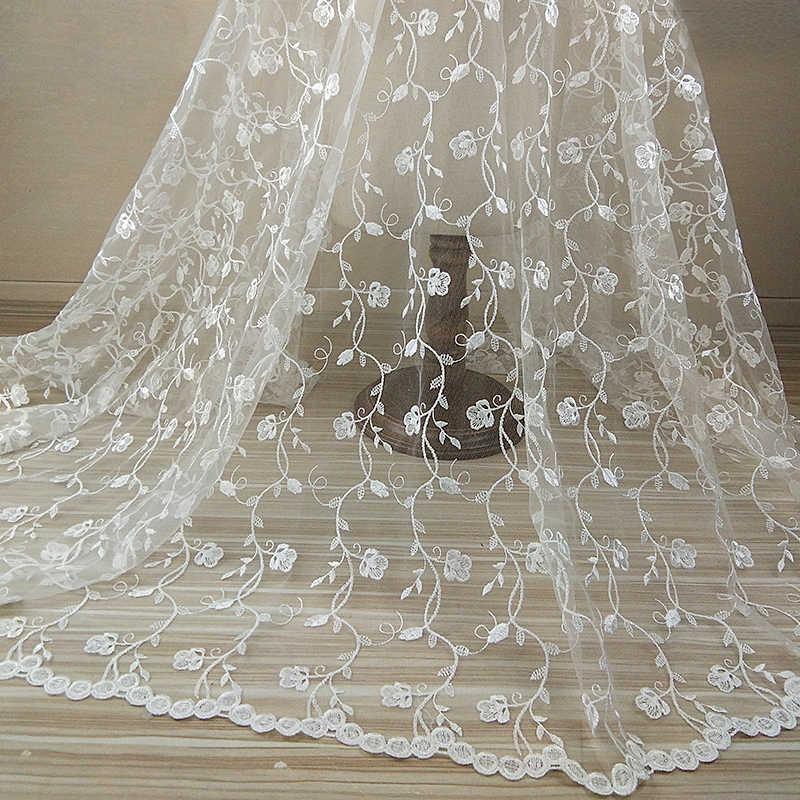 QJH 1 Yard 120cm genişlik Elegance yumuşak beyaz çiçekler ipek afrika dantel kumaşlar işlemeli nijeryalı gipür tül gelinlik