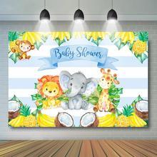 цена на Safari Baby Shower Backdrop Safari Animal and Fruit Background Boy Baby Shower Party Decoration Banner