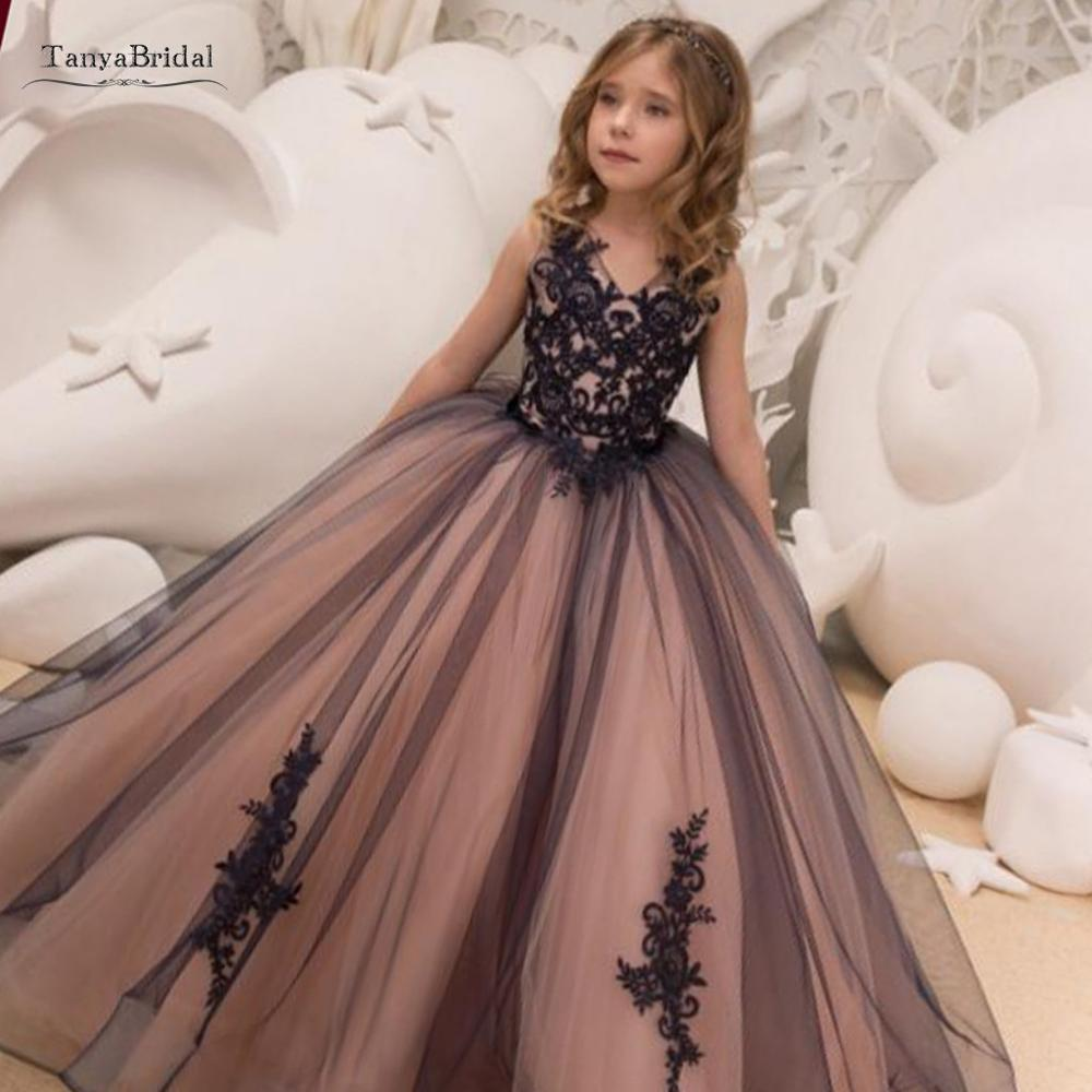 Princess Ball Gown Brown Flower Girl Dresses Lace Applique Girls Pageant Dress First Communion Dresses Party XF030