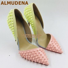 ALMUDENA Yellow Pink Rivets High Heel Shoes Pointed Toe Patc