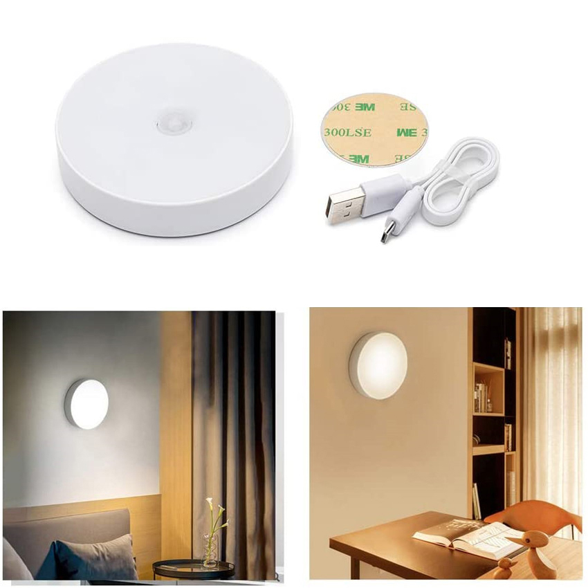 Infrared Motion Sensor Night Light Wireless Auto On/Off Detector Lamp USB Rechargeable Cordless Emergency Close Wall Light