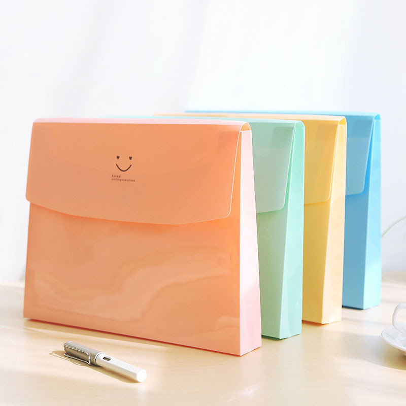 Coloffice A4 Creative Candy-Colored Smile Folder Student Portable File Bag Test Paper Document Folder Students Stationery 1PC