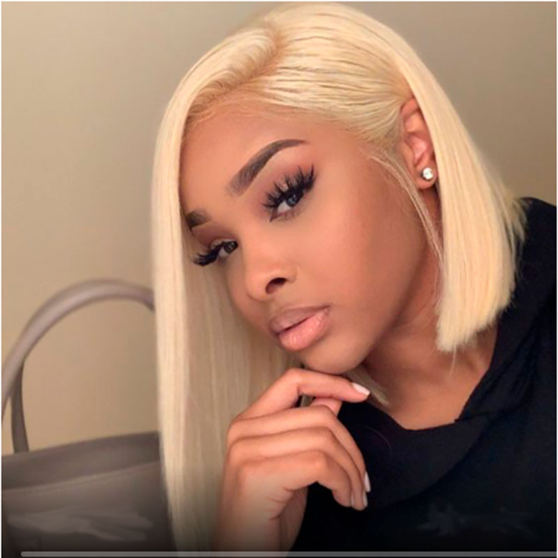 613 Honey Blonde 13X6 Deep Part Transparent Lace Front Human Hair Wigs Straight Short Bob Ombre Frontal Wig Baby Hair