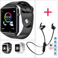 Electronics WristWatch Bluetooth Smart Watch Men Sport Pedometer with SIM Camera Smartwatch for Android ios Smartphone Earphone