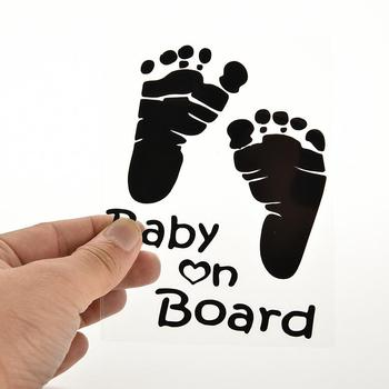 1PCS New Design Cute Letter Baby On Board Baby Footprints Stickers Refective Car Sticker Auto Safety Warning Window Sticker image