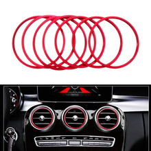7Pcs Air Vent Outlet Ring Cover Trim Red blue For Mercedes Benz C Class