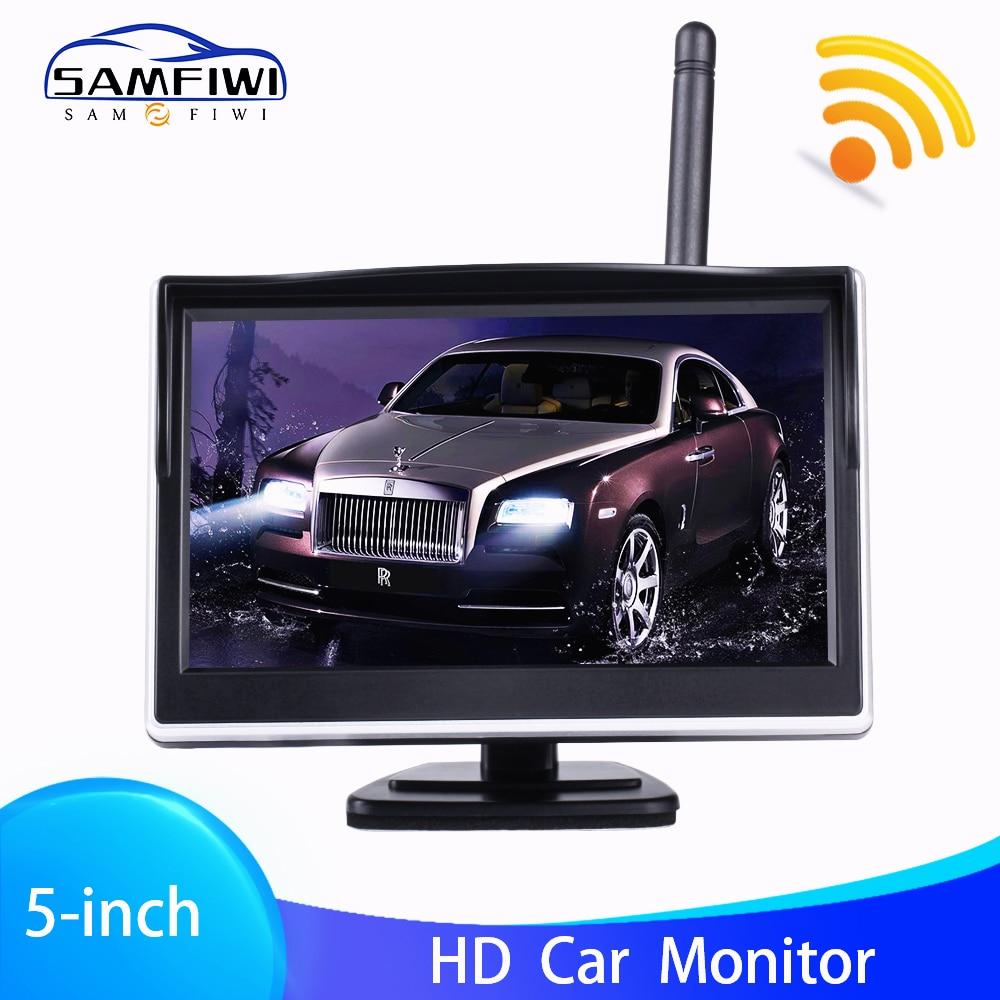 5 Cal TFT LCD ekran HD bezprzewodowy samochód Monitor Monitor widoku z tyłu kolor samochodów widok z tyłu kamera cofania z 2 Way wejścia wideo