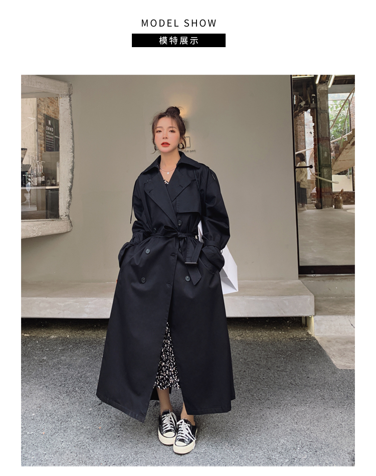 He468208779a1462f81401fd3448c9fd8a Korean Style Loose Oversized X-Long Women's Trench Coat Double-Breasted Belted Lady Cloak Windbreaker Spring Fall Outerwear Grey