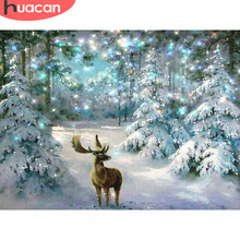 HUACAN 5D DIY Christmas Diamond Painting Deer Mosaic winter Embroidery Cross Stitch Home Decor