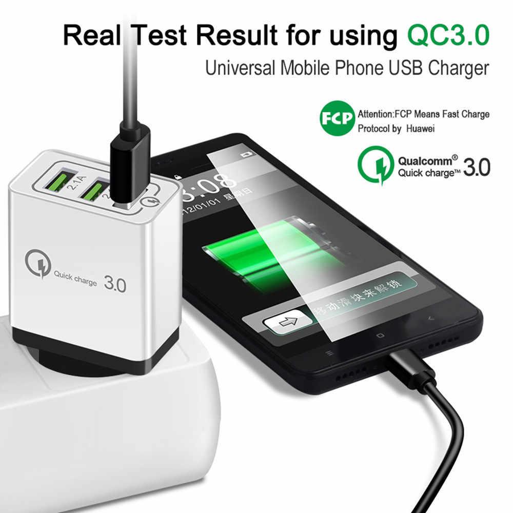 Dobry ue/telefonu W usa szybka ładowarka USB wysokiej jakości wtyczki 3 porty szybka ładowarka QC 3.0 3A 18W do apple Samsung Huawei Xiaomi iphone X