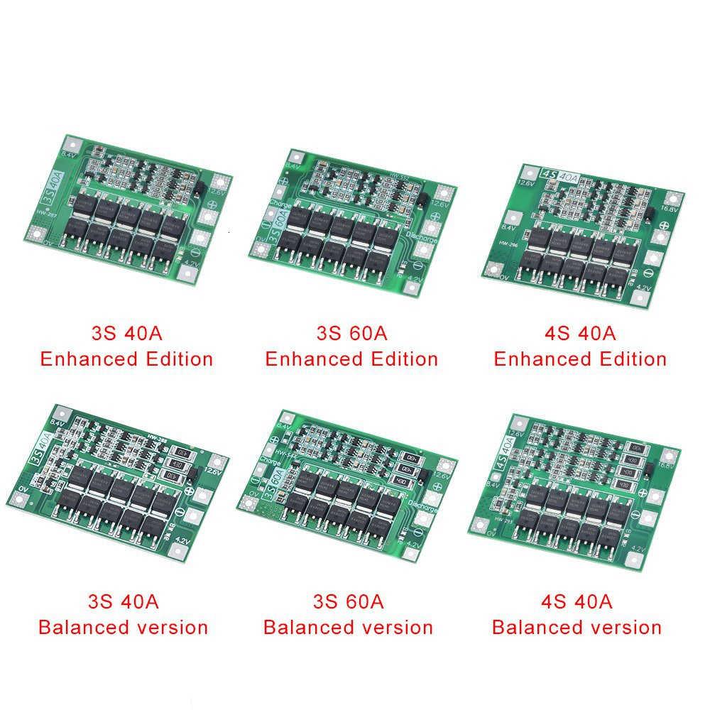 3 S/4 S 40A 60A Li-Ion Lithium-Batterie Ladegerät Schutz Bord 18650 BMS Für Bohrer Motor 11,1 V 12,6 V/14,8 V 16,8 V Verbessern/Balance