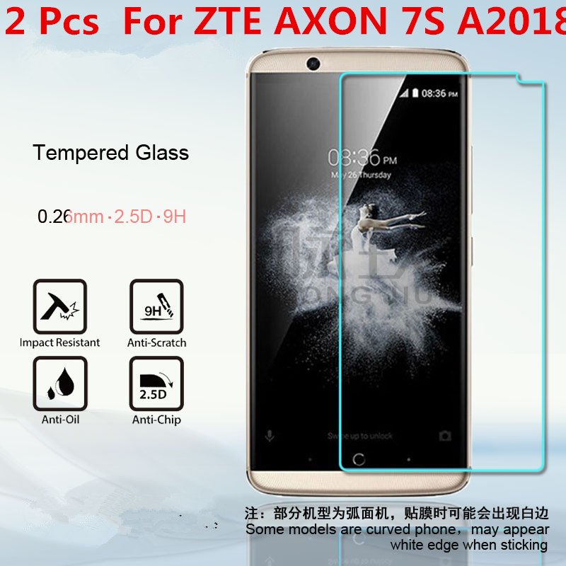 2 Pcs 0.26 mm cell phone Tempered Glass screen protector For ZTE Axon 7s (<font><b>A2018</b></font>) Screen Protector Protective Film image