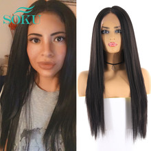 Synthetic Lace Front Wigs Long Yaki Straight Middle Part Lace Wig SOKU Glueless Heat Resistant Fiber Lace Wigs For Black Women