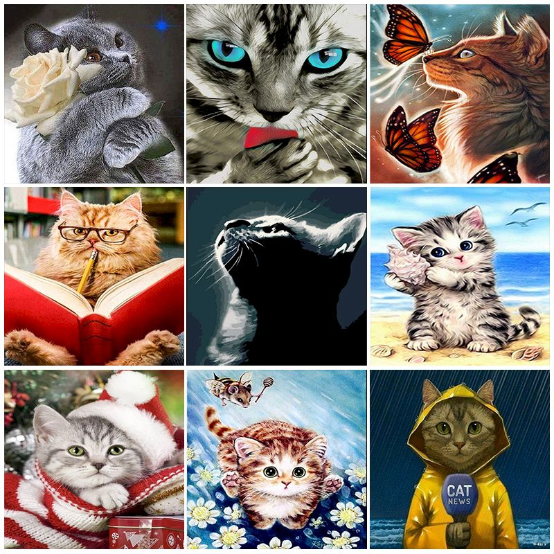 Pictures By Number Glowing Cat Gift Diy Oil Paint By Numbers Acrylic Paint Abstract Modern Wall Art Canvas Kids Adults Kit Decor
