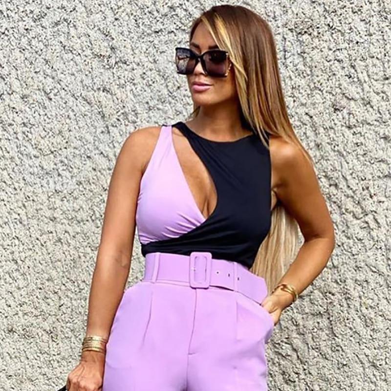 Patchwork women elegant bomb bodysuits 2020 summer fashion ladies purple-black bodysuit party female stylish bodysuit girls chic