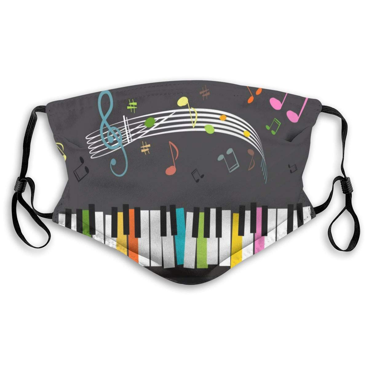 Mouth Masks Color Key Piano Music Keyboard Reusable Anti Dust Face Mask Filters For Women Men Adult