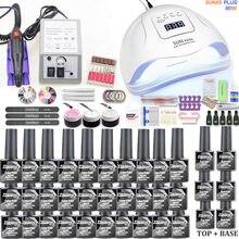 Conjunto de esmalte de unha em gel, kit de 30 peças de lâmpada uv led para manicure e salão de beleza, ferramentas para manicure com máquina de broca de unha